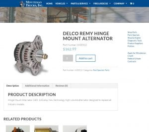 A Delco Remy Hinge Mount Alternator as presented on the Minuteman Trucks WooCommerce enabled website.