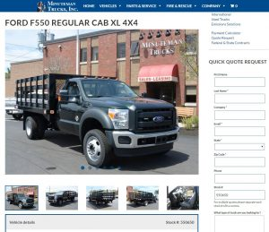 A Ford F550 Truck as shown by the Minuteman Trucks website with Salesforce integration.